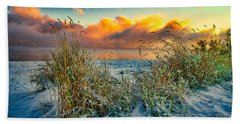 Grass And Snow Sunrise Beach Towel