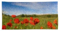 Grassland And Red Poppy Flowers 3 Beach Sheet