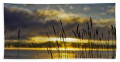 Grassy Shoreline Sunrise Beach Towel