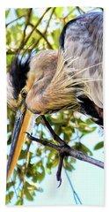 Great Blue Heron Close Up Beach Sheet