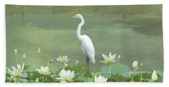 Great Egret And Lotus Flowers Beach Towel