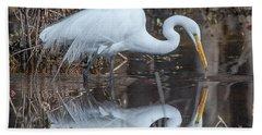 Great Egret In Breeding Plumage Dmsb0154 Beach Towel