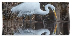 Great Egret In Breeding Plumage Dmsb0154 Beach Sheet