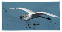 Great Egret Flying With Fish Beach Sheet