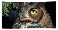 Great Horned Owl 10181801 Beach Sheet