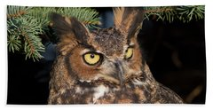 Great Horned Owl 10181802 Beach Sheet