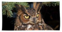 Great Horned Owl 10181802 Beach Sheet