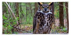 Great Horned Owl Standing On A Tree Log Beach Towel