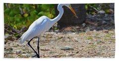 Great White Egret Hunter Beach Towel