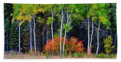 Green Aspens Red Bushes Beach Towel