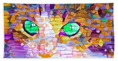 Green Eyed Cat Abstract Beach Towel