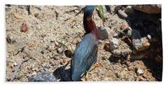 Green Heron Strut Beach Towel
