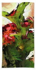 Green Leaves And The Red Flower Beach Towel