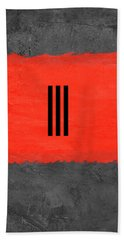 Grey And Red Abstract I Beach Towel