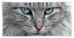 Grey Cat With Blue Eyes Beach Towel