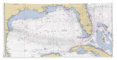 Gulf Of Mexico, Noaa Chart 411 Beach Towel