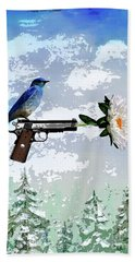 Bluebird Of Happiness- Flower In A Gun Beach Towel