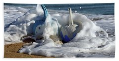 Halloween Blue And White Pumpkins In The Surf Beach Towel