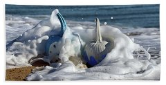 Halloween Blue And White Pumpkins In The Surf Beach Sheet