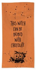 Halloween Bribed With Chocolate Beach Towel