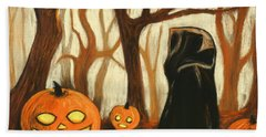 Beach Sheet featuring the painting Halloween Forest by Anastasiya Malakhova
