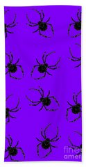 Beach Towel featuring the mixed media Halloween Spiders Creeping by Rachel Hannah