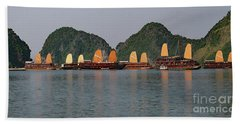 Beach Towel featuring the photograph Halong Bay--waiting For Sunrise by PJ Boylan
