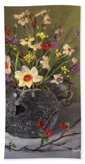 Handbuilt Pufferfish Teapot With Spring Flowers Beach Towel