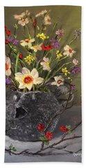 Handbuilt Pufferfish Teapot With Spring Flowers Beach Sheet