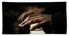 Hands Playing Piano Close-up Beach Towel