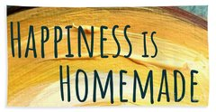 Beach Towel featuring the painting Happiness Is Homemade by Maria Langgle