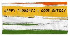 Happy Thoughts Rainbow- Art By Linda Woods Beach Towel