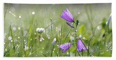 Harebells And Water Drops Beach Towel