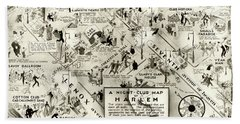 Harlem Prohibition Nightclub Map 1926 Beach Towel