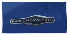 Harley Davidson Tank Logo Grey Artwork Beach Towel