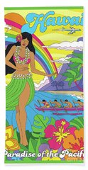 Hawaii Poster - Pop Art - Travel Beach Towel