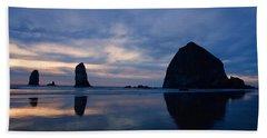Haystack Rock At Dusk Beach Sheet