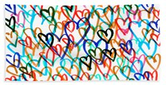Beach Towel featuring the drawing Hearts by Bee-Bee Deigner