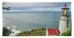 Heceta Head Lighthouse And The Pacific Beach Towel