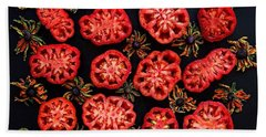 Heirloom Tomato Grid Beach Towel