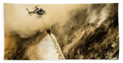 Helicopter Dropping Water On A Forest Fire Beach Towel