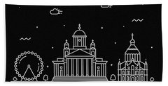 Helsinki Skyline Travel Poster Beach Towel