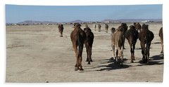 Herd Of Camels Crossing The Highway Near  Rissani Beach Towel
