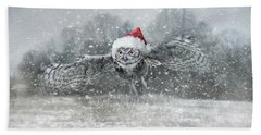 Here Comes Santa Claws Beach Towel