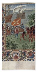 Hernando Cortes Landing In Mexico In 1519  Met By Natives  With Foliate Borders And A Portrait Of Co Beach Towel