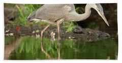 Heron Fishing Beach Towel