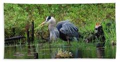 Heron In Beaver Pond Beach Sheet