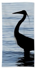 Heron In Silhouette Beach Towel