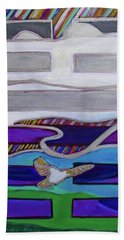 Beach Towel featuring the painting Hexagram-62-xiao-guo-small-traverses by Denise Weaver Ross