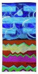 Beach Towel featuring the painting Hexagram 63-ji-ji-equilibrium by Denise Weaver Ross